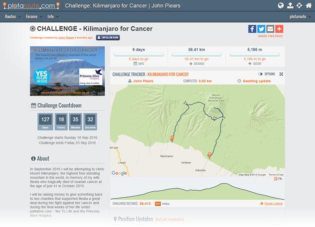Kilimanjaro for Cancer - Challenge Tracker