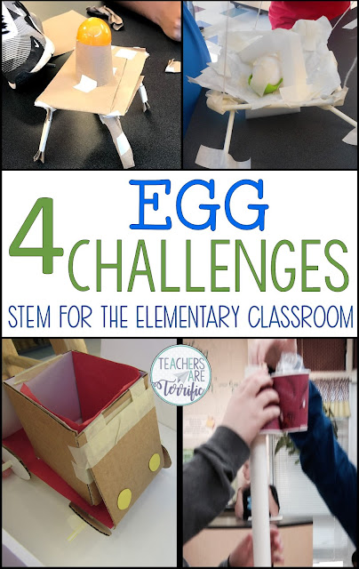 It's  exciting Egg Challenges! This includes four STEM Challenges that all use eggs as part of the structure or drop. Take a look at this blog post for the details! #teachersareterrific #STEM