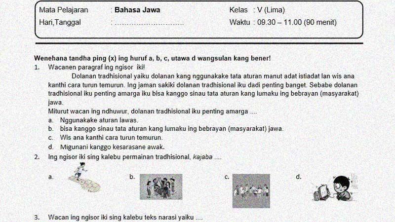 Soal Penilaian Akhir Semester I Kelas 5 Mapel Bahasa Jawa K-13 + Kunci Jawaban