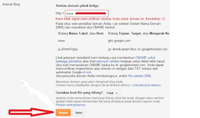 Cara Memasang Instal Domain TLD Rumahweb Di Blogspot