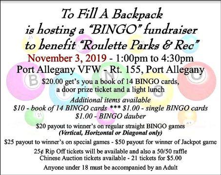 11-3 Bingo @ Port Allegany VFW