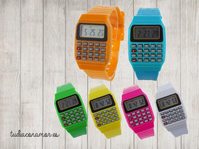 Si buscas un detalle o recuerdo para los niños estos relojes de colores con calculadora son el regalo perfecto