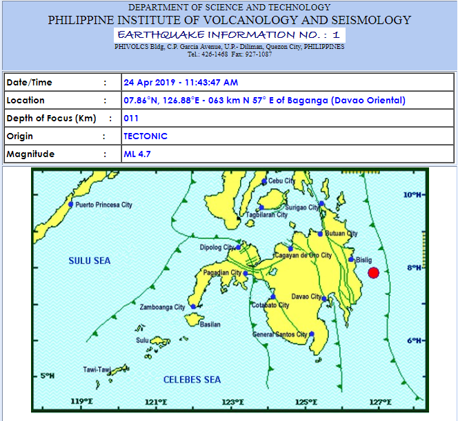 Magnitude 4.7 earthquake jolts Mindanao