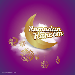 Ramadan Kareem islamic greetings cards crescent moon lanterns