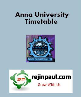 Anna University 1st Semester Time Table 2021