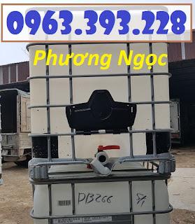 Thùng nhựa vuông 1 khối đựng xăng dầu, bồn nhựa 1000L cũ 10c8d455a79445ca1c85