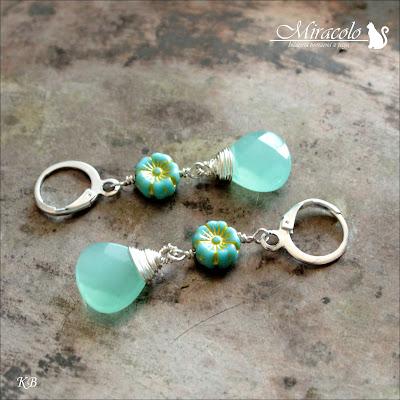 Miracolo, flower beads primula, kropla jadeitu, jadeit zielony, kolczyki z jadeitem, jade earrings, green jade