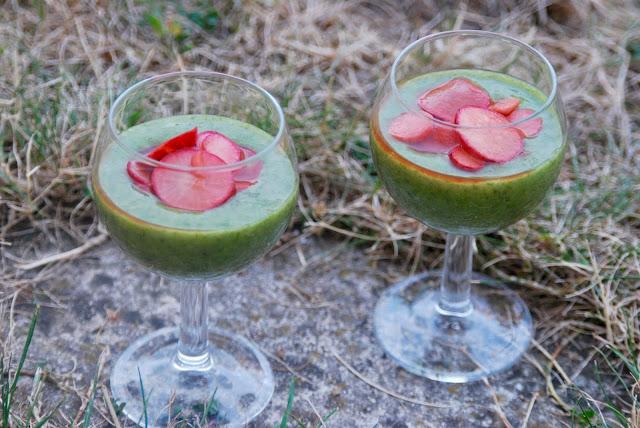 Cuillère et saladier : Velouté froid de fanes de radis et ses radis croquants