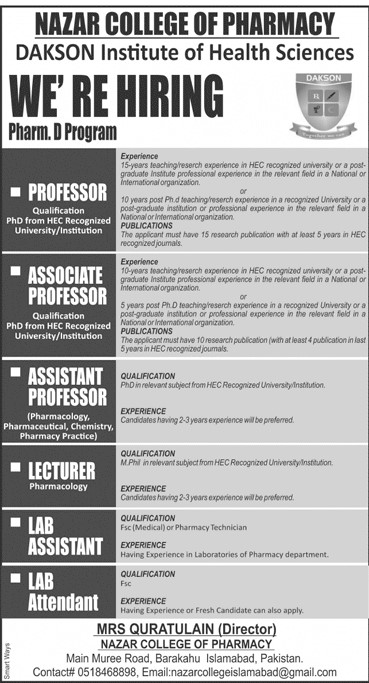 DAKSON Nazar College of Pharmacy Islamabad Jobs 2021 in Pakistan