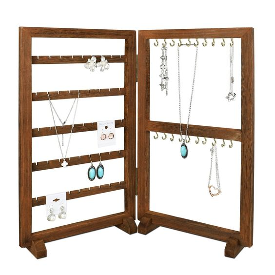 #WD417-BR Two-Sided Panel Jewelry Display Stand for displaying Earring Card