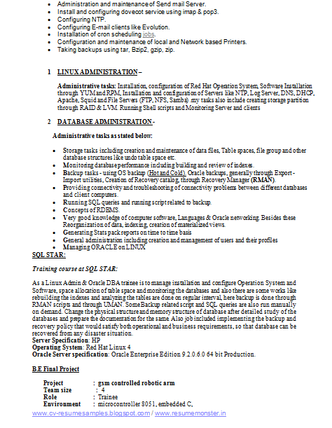 sql server dba resume resume format download pdf sample