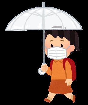 傘をさして歩く学生のイラスト(小学生・女子・マスク)