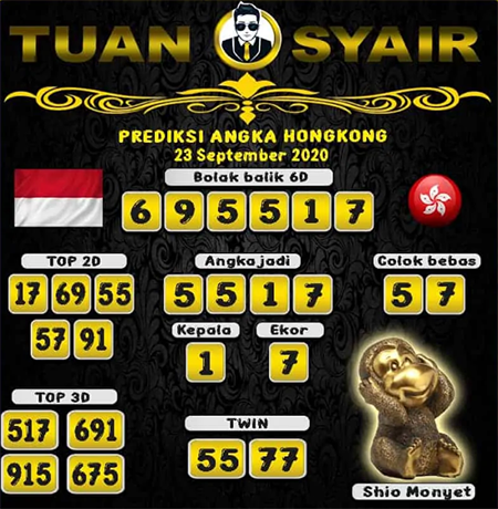 Prediksi Tuan Syair HK Rabu 23 September 2020
