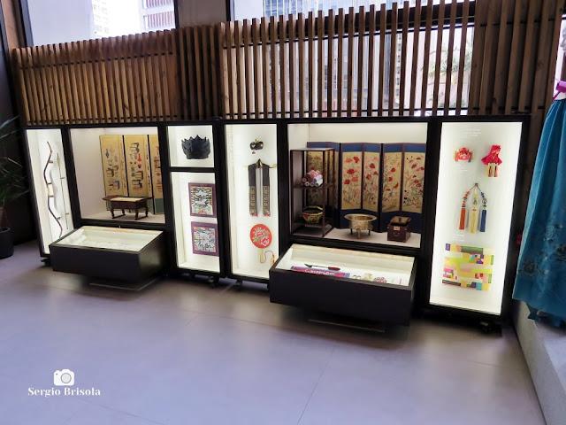 Vista de parte do setor expositivo do Centro Cultural Coreano no Brasil - Bela Vista - São Paulo