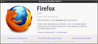 Mozilla Firefox 21 Bajo Debian Wheezy