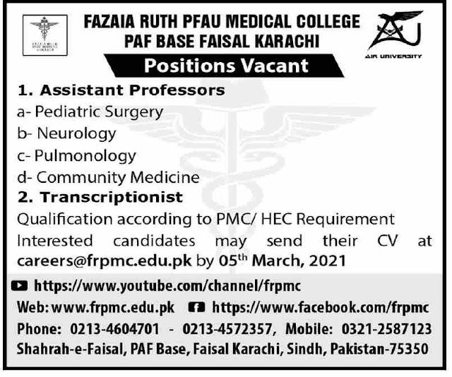 Fazaia Ruth PFAU Medical College Jobs 2021 in Karachi