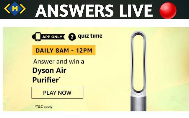 Amazon Quiz 16 October 2020 Answers - Win Dyson Air Purifier - Money Quiz