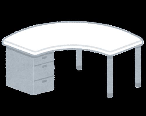 オフィスデスクのイラスト(ブーメラン型)