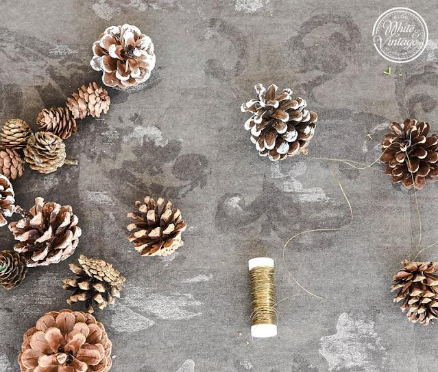 Zapfengirlande für Weihnachten basteln