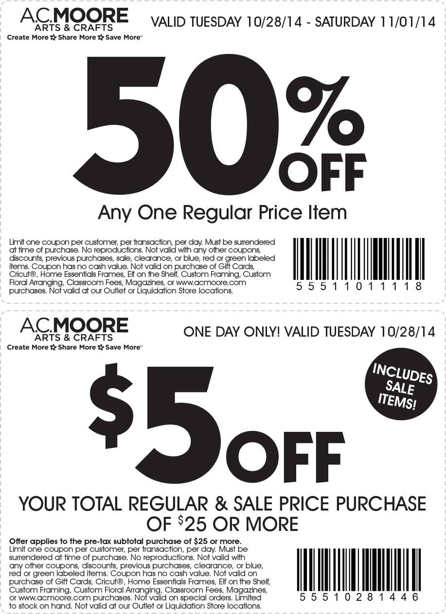Free Printable Coupons: AC Moore Coupons