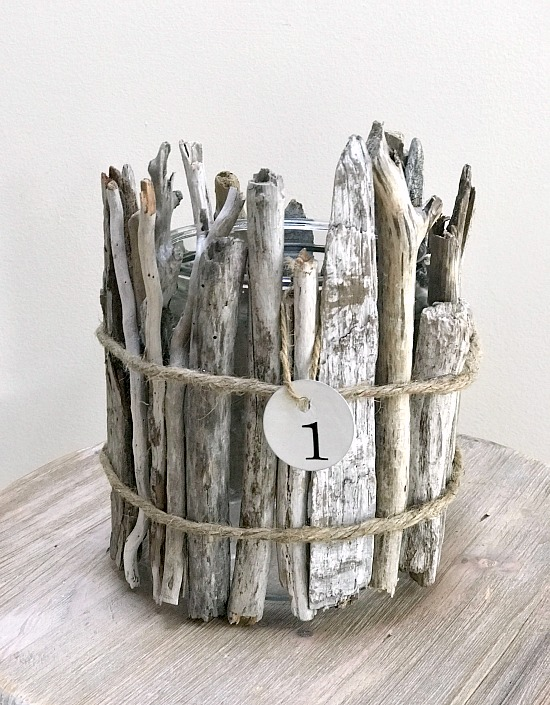 DIY Driftwood vase for flowers with metal hang tag
