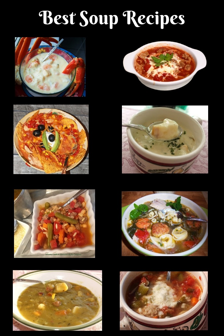 this is a collection on how to make the best soups on the planet. Anything for how to make seafood chowders, taco soup, lasagna soup, wedding soup, split pea soup, vegetable soup and chicken broth