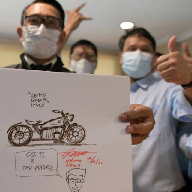 Ridwan Kamil Kunjungi Pabrik Gesits, Siap Rancang Motor Bobber Listrik ???