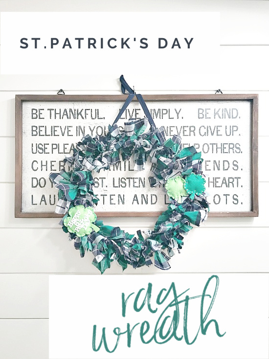 st pat's day rag wreath with overlay
