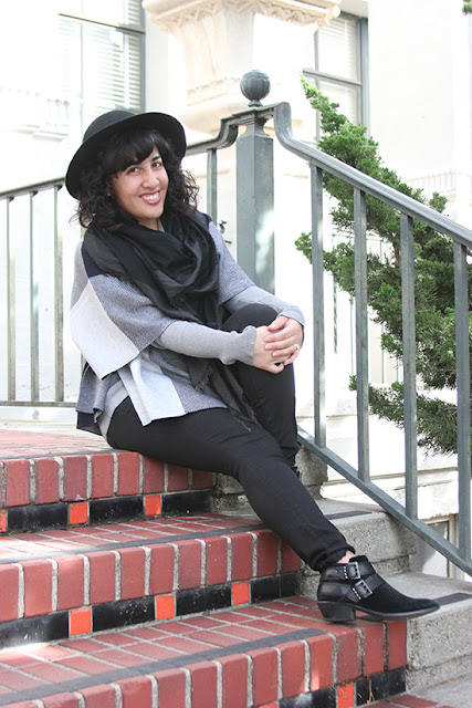 Black and Grey Patchwork Poncho and Skinny Jean Winter Outfit | Will Bake for Shoes