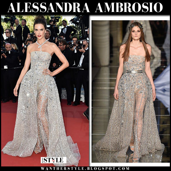 Alessandra Ambrosio in silver sequin gown zuhair murad red carpet cannes 2016 what she wore