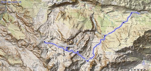 Mapa ruta Collado Pandébano Refugio del Jou de los Cabrones