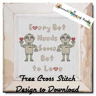 a pair of cute cross stitch robots