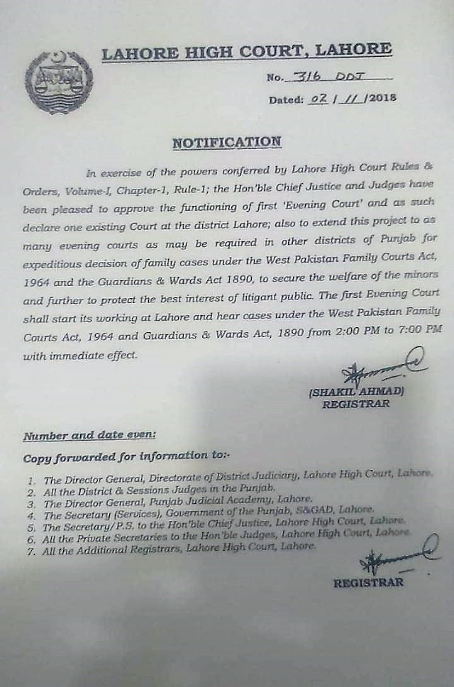 FUNCTIONING OF EVENING COURT