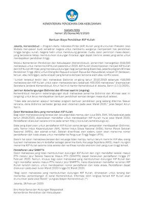 Bantuan Biaya Pendidikan Kartu Indonesia Pintar (KIP) KULIAH Bagi Siswa Lulusan SMA, SMK, MA Sederajat