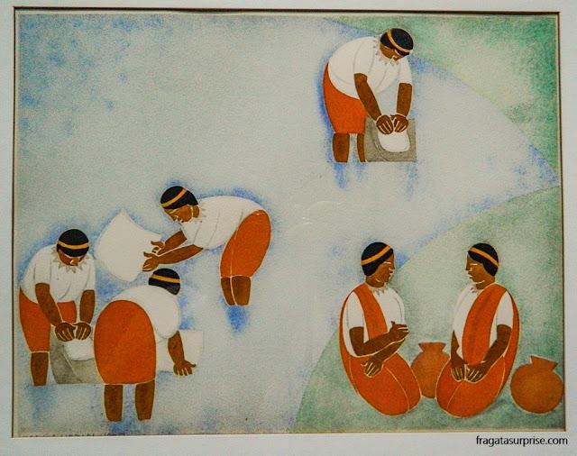 """""""Trabalho"""", obra do pintor Carlos Mérida no Museu Nacional de Belas Artes Carlos Mérida, Cidade da Guatemala"""