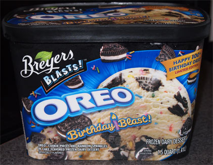 Oreo Birthday Blast Frozen Dairy Dessert Is Cookie Pieces And Rainbow Spinkles In Cake Flavored Artificially