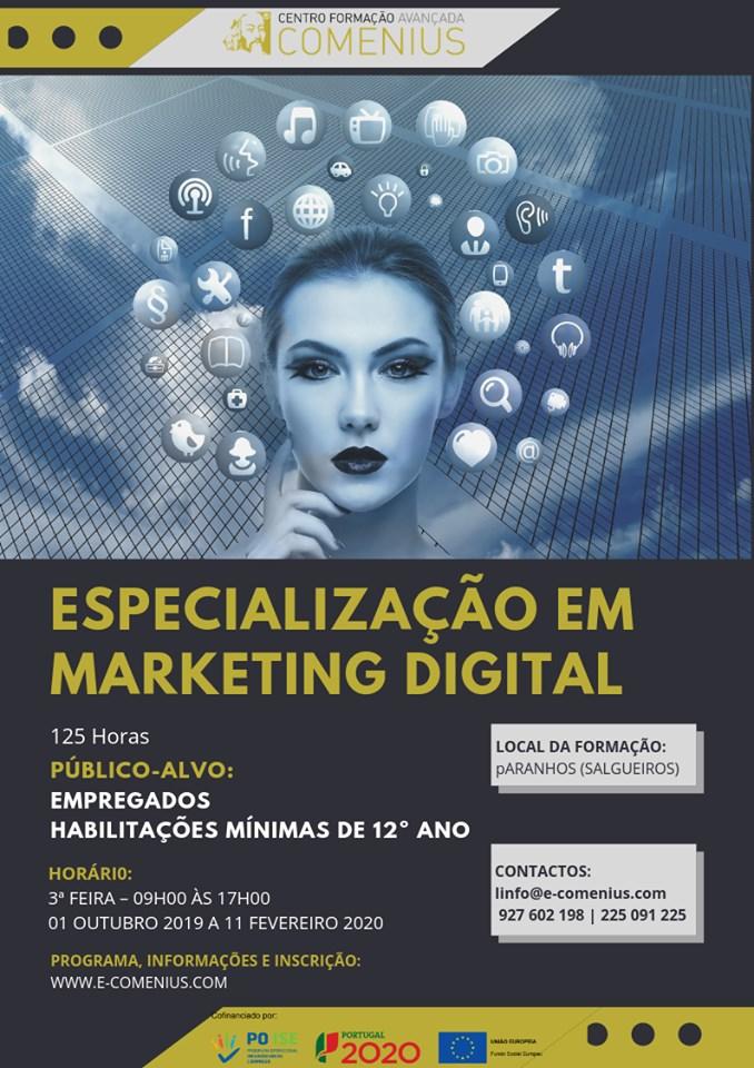 Curso gratuito de Especialização em Marketing Digital – PORTO (Paranhos)