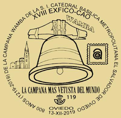Matasellos, exposición, Centro Asturiano, Oviedo, campana, Wamba, 2019