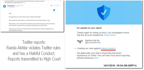 Twitter's reports about cyberstalker Ramla Aktar transmitted to Hight Court