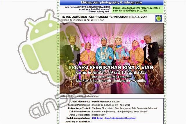 Tampilan ANDROID Wedding & Prewedding - RINA & VIAN