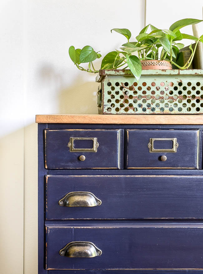 Painted dresser turned industrial chest