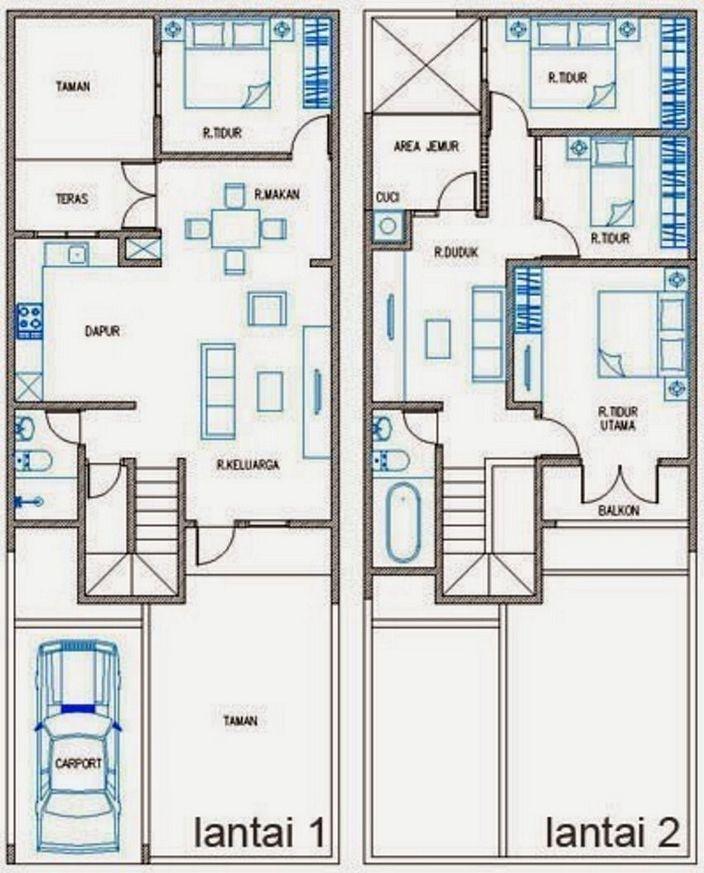 denah rumah 6x8 meter 2 lantai tampak minimalis