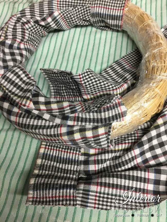 Flannel Shirt Fall Wreath Wrapping Sleeves