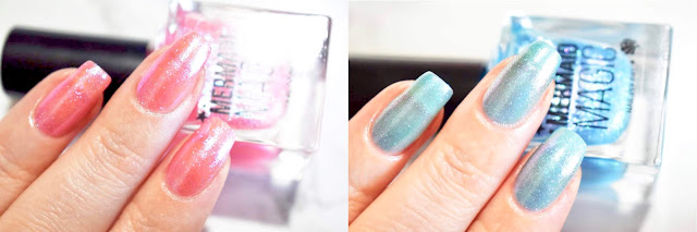 Primark PS Mermaid Magic Nail Polish Aquamarine and Coral Swatches