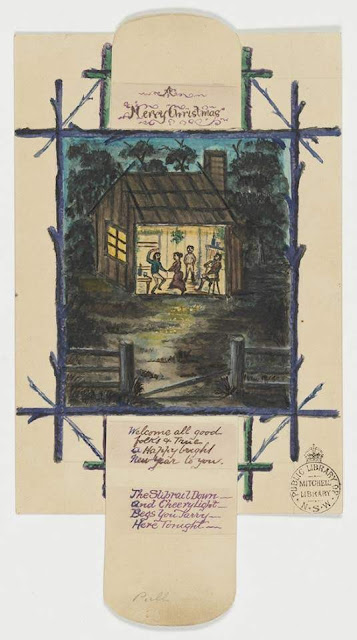 """Christmas Card design depicting an Australian wooden house with inhabitants dancing with the words """"A Merry Christmas A Happy New Year""""."""