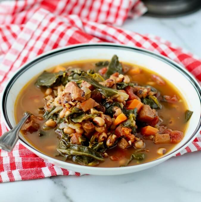 Ham and Black-Eyed Pea Soup with greens