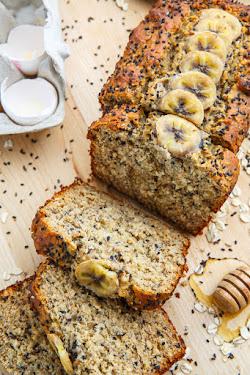 Sesame Chia Banana Bread with Honey and Tahini