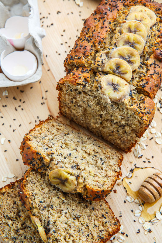 Sesame Chia Banana Bread with Honey and Tahini