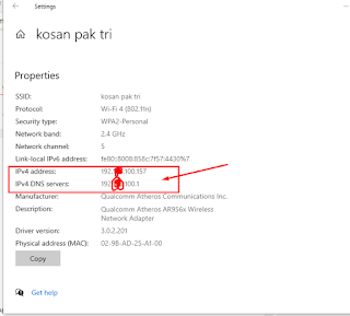 alamat ip internet di windows 10