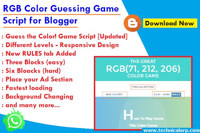 RGB Color Guessing Game JavaScript code Blogger Script